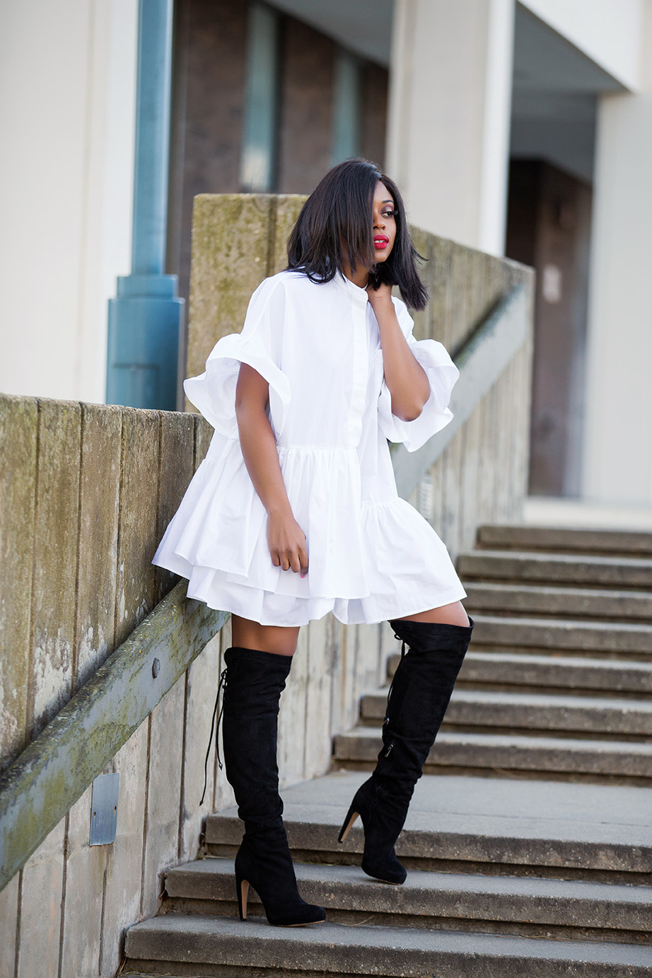 Shirtdress and over the knee boots, www.jadore-fashion.com