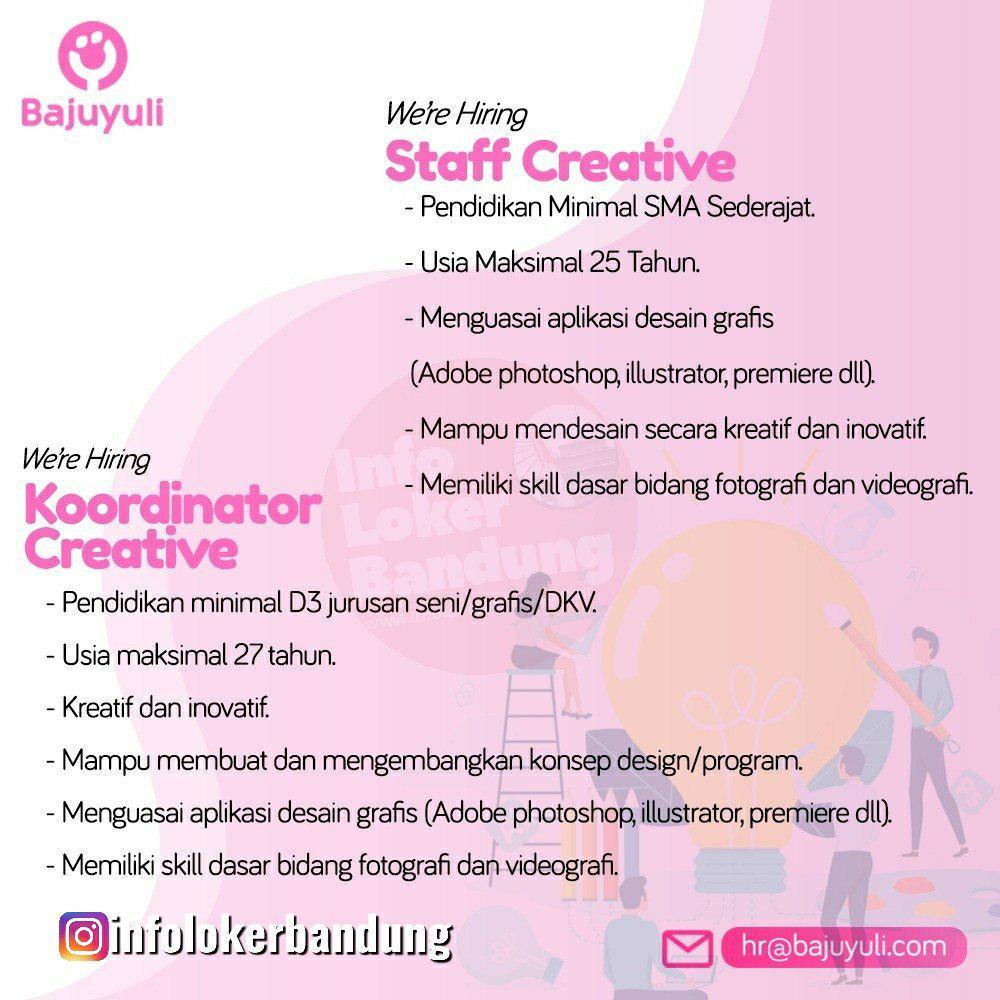 Lowongan Kerja Staff Creative & Koordinator Creative Bajuyuli Bandung Agustus 2019