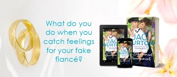 What do you do when you catch feelings for your fake fiancé? The Engagement Arrangement by Jaci Burton.