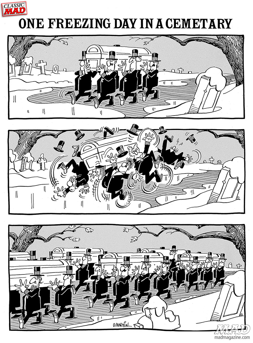 One freezing day in a cemetary, by Don Martin for MAD Magazine