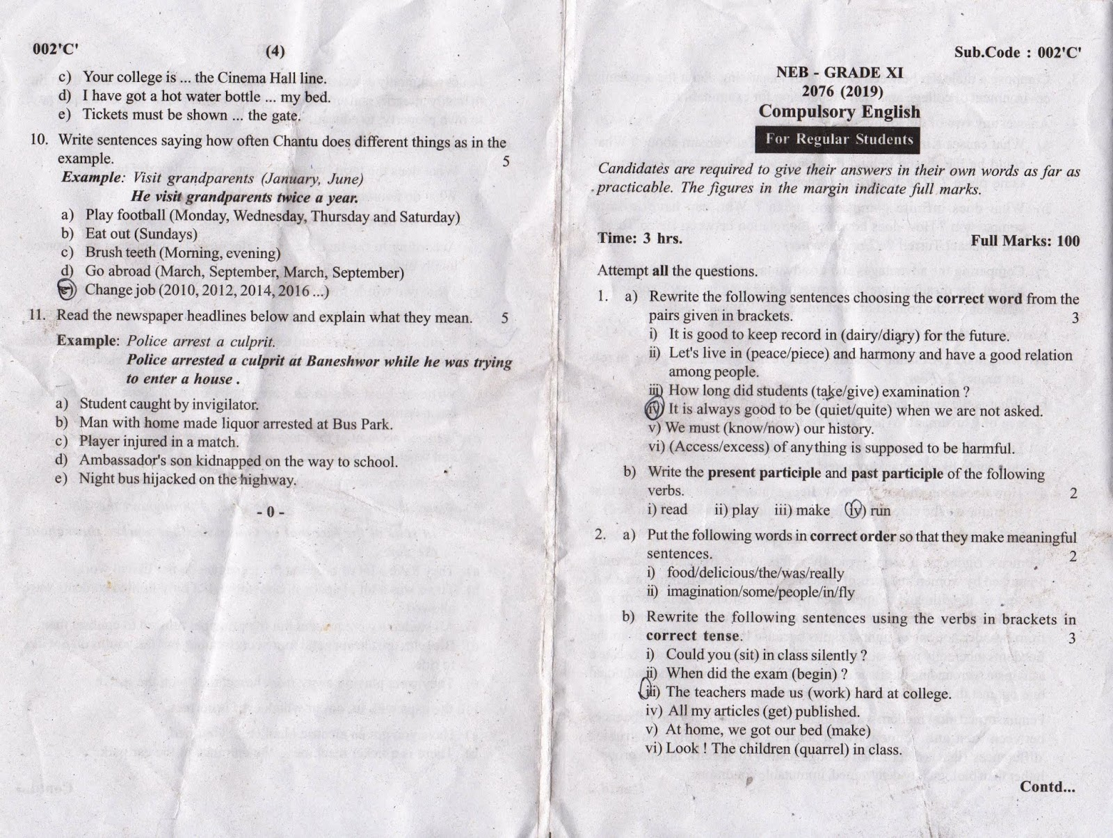 Class 11 Compulsory English, Question Paper 2076