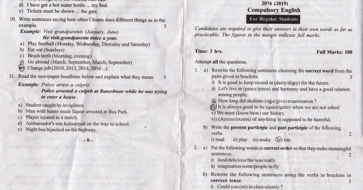 Class 11 Compulsory English, Question Paper 2076