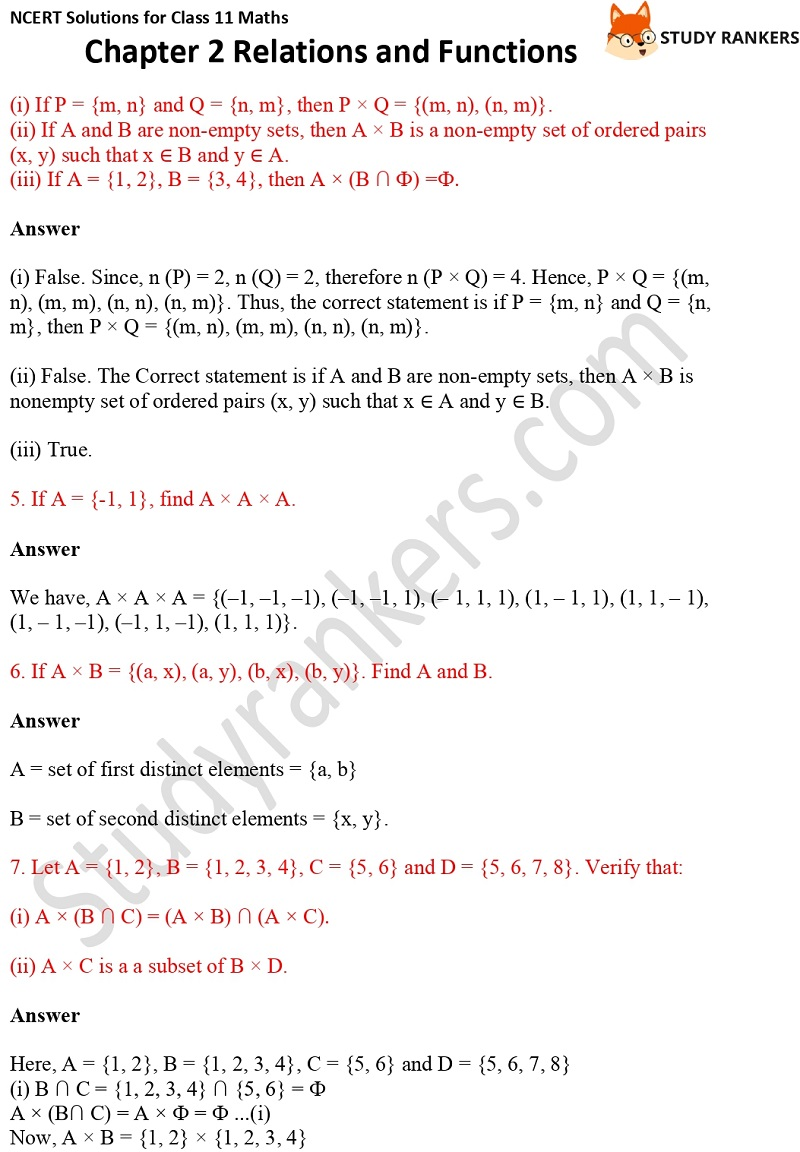 NCERT Solutions for Class 11 Maths Chapter 2 Relations and Functions 2