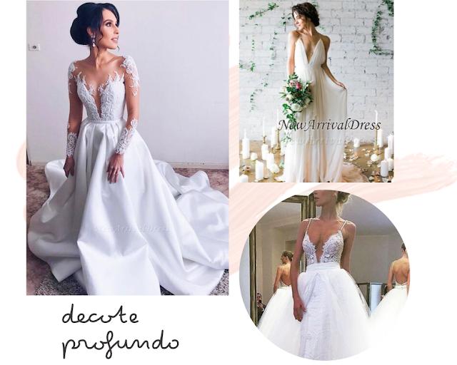 vestido de noiva decote profundo