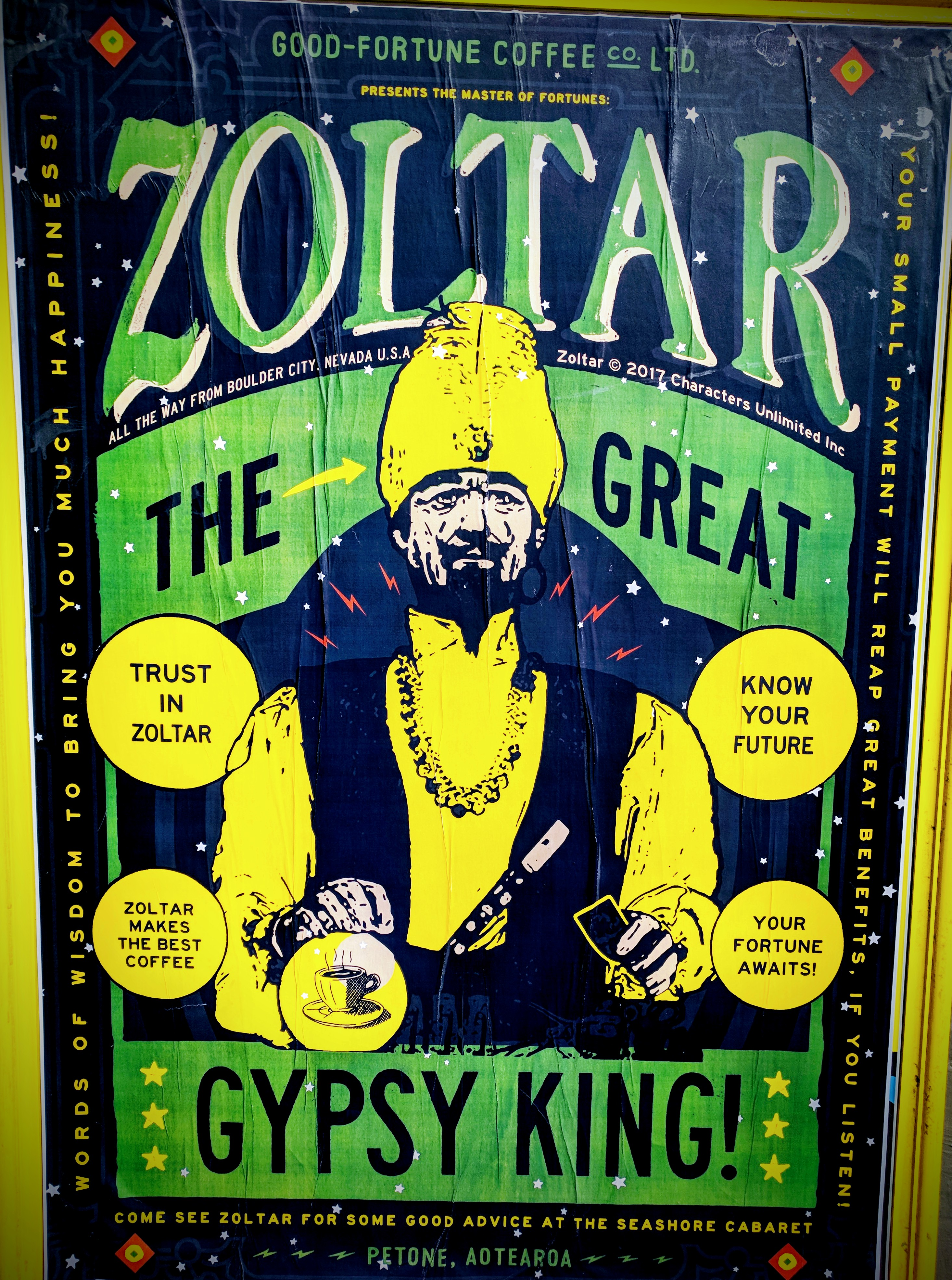 Zoltar advertising poster for Good Fortune Coffee and The Seashore Cabaret Cafe