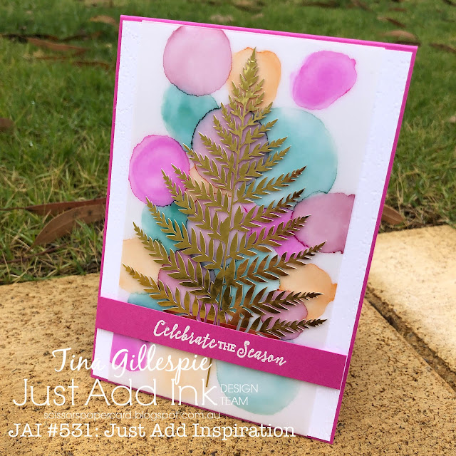 scissorspapercard, Stampin' Up!, Just Add Ink, Itty Bitty Christmas, Forever Gold SP, Stampin' Blends, Subtle 3DEF, Alcohol Ink Blended Background, Christmas