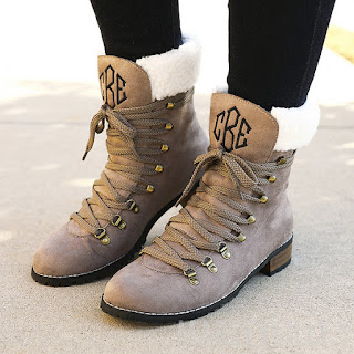 Monogrammed Sueded Lace Up Boots