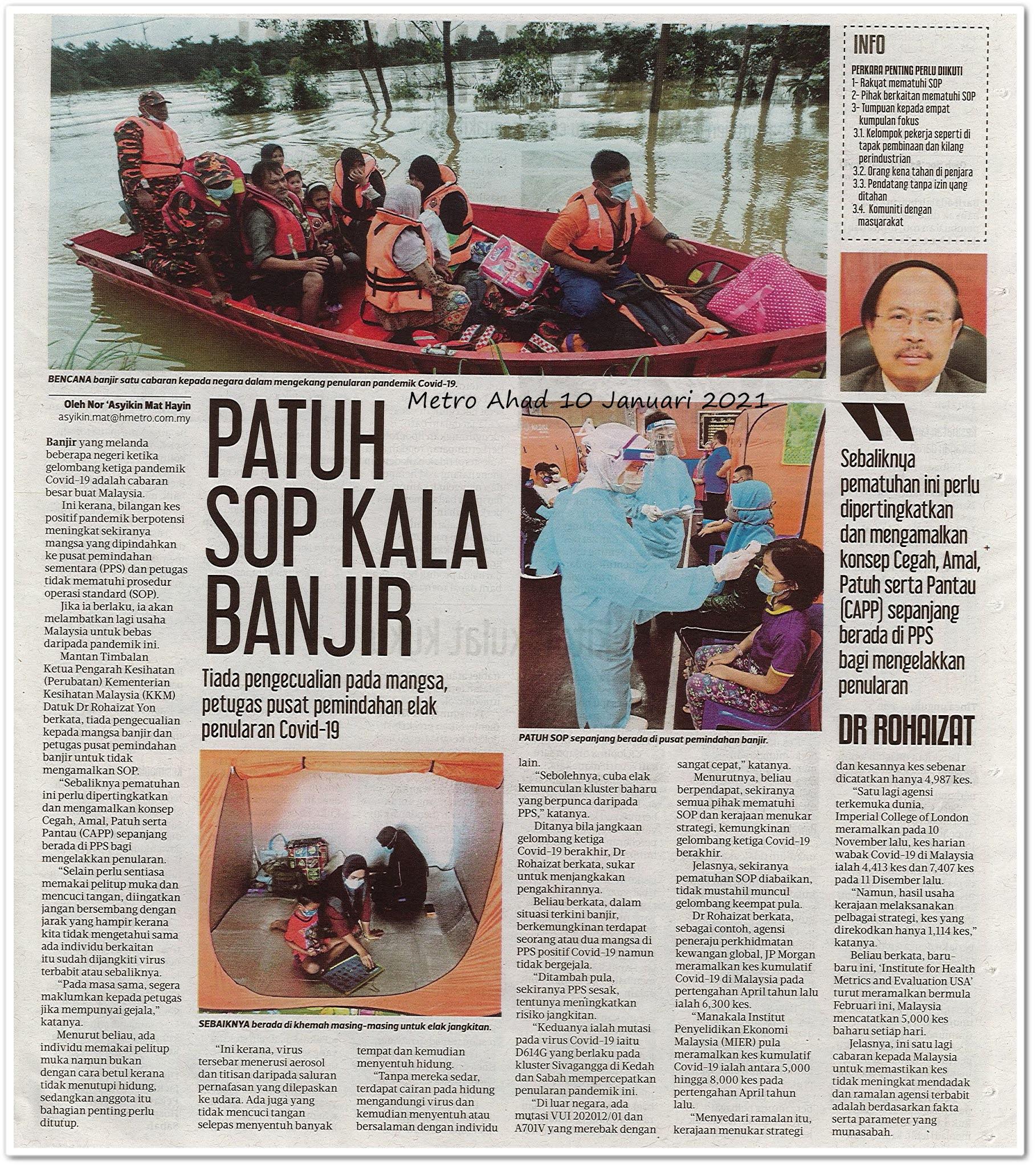 Patuh SOP kala banjir - Keratan akhbar Metro Ahad 10 Januari 2021