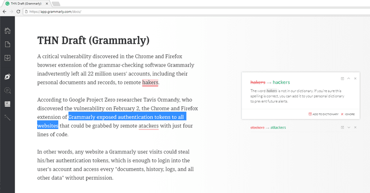 Critical Flaw in Grammarly Spell Checker Could Let Attackers Steal Your Data