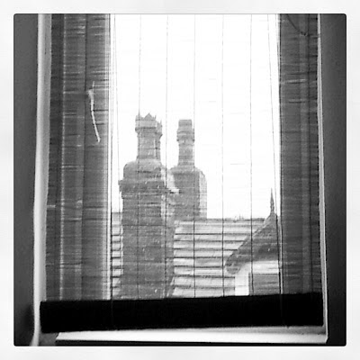 Black and White: view from Leeds attic window