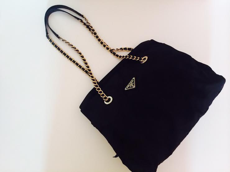 8579e845a02d Truly Vintage: Authentic Prada Tessuto Nylon Medium Size Chain Tote Bag