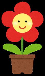 鉢植の花のキャラクター(赤)