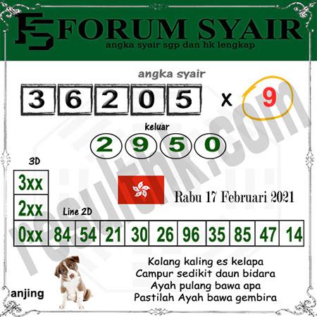 Forum Syair HK Rabu 17 Februari 2021