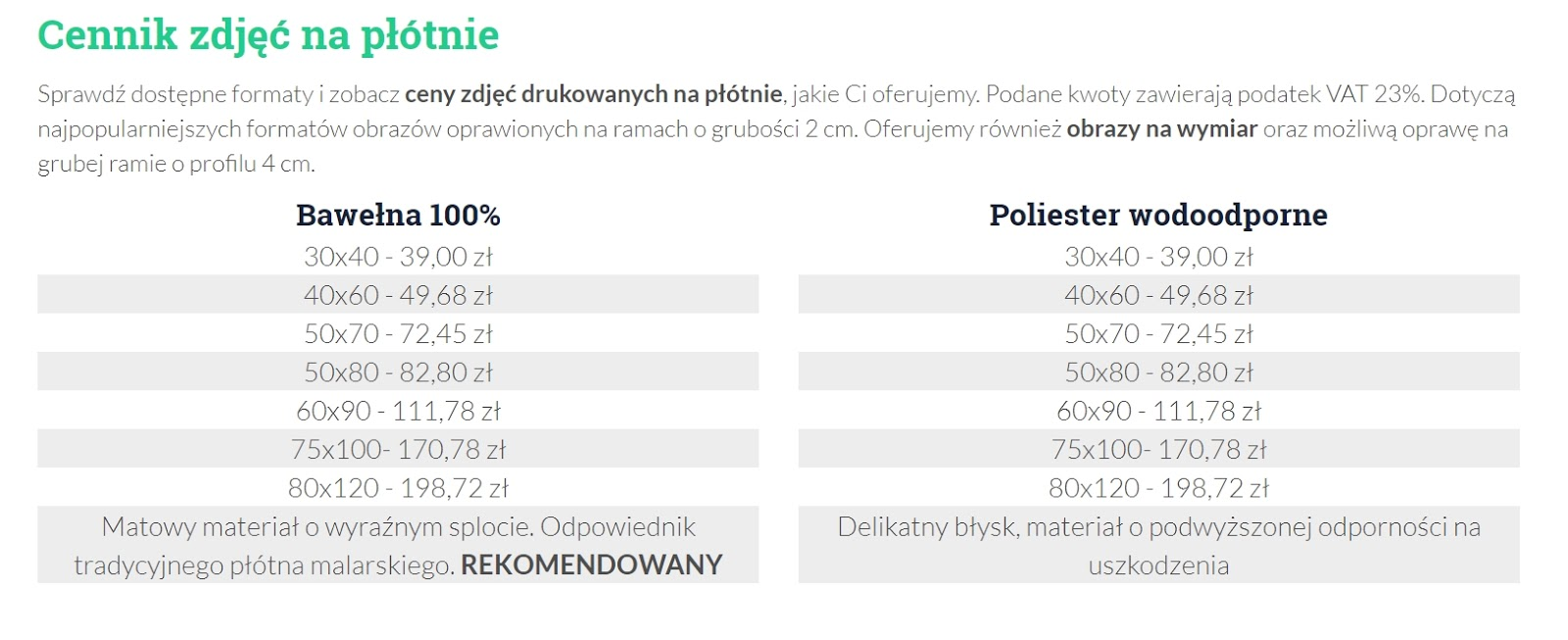 cennik zdjec na płótnie galeriadruku.com.pl