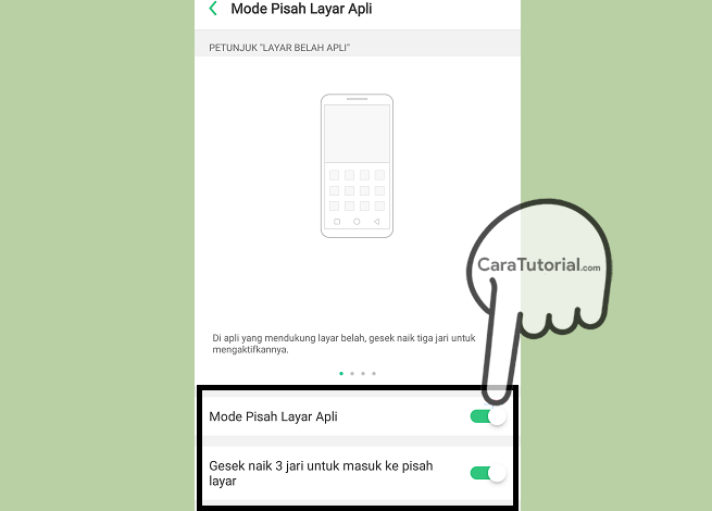 mode pisah layar aplikasi oppo enable
