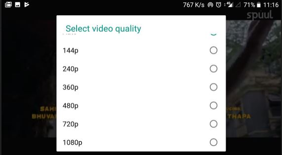 Spuul app video resolution