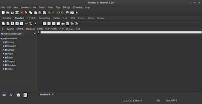 Install Aplikasi Pemrograman Bluefish di Kali Linux