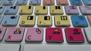 editing keyboard with marks and colors on the keys