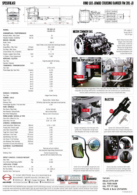 spesifikasi truk hino ranger fm 285 jd surabaya