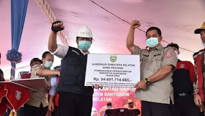 LAUNCHING, Lanjutan Pembangunan Jembatan Rantau Bayur Kab. Banyuasin Oleh Gubernur Sumatera Selatan