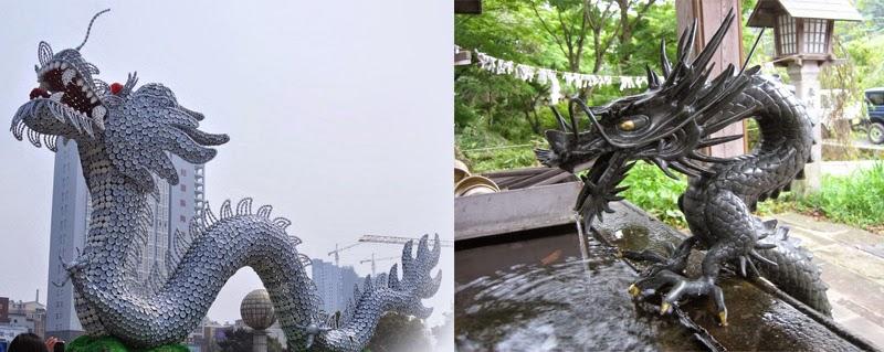 estatuas de dragones chinos del elemento agua