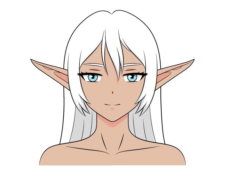 Anime gadis dark elf menggambar