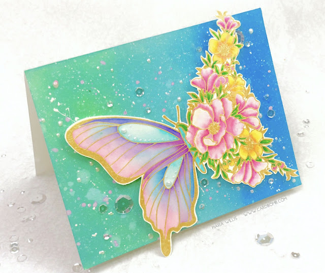 #cardbomb, #mariawillis, The Ton, Simon Says Stamp, #butterfly, #flowers, #watercolor, #tonicstudios, #tonicstudiosusa, #nuvo, #nuvodreamdrops, #distressoxideinks, Ranger Ink, #inkblending, #stamps, #ink, #paper, #cards, #art, #handmade, #handmadecards, #cardmaking,