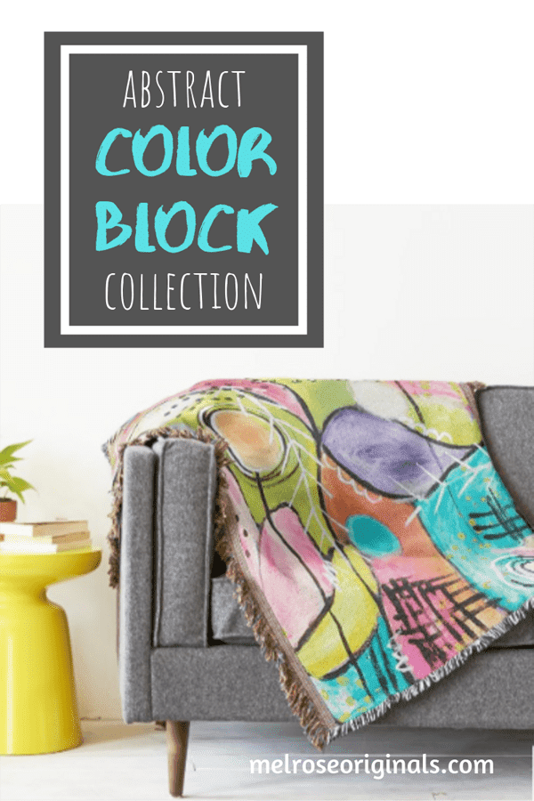 pinnable image for throw blanket on couch from Abstract Color Block Home Accents Collection