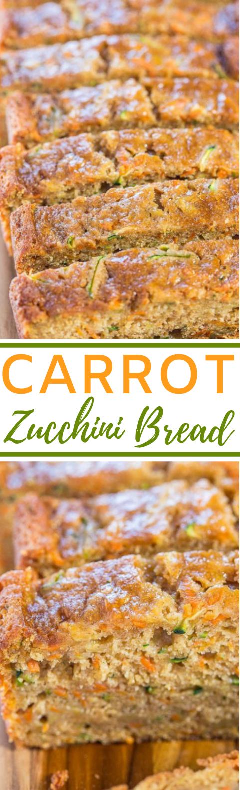 Carrot Zucchini Bread #vegetarian #breakfast #healthy #veggies #bread