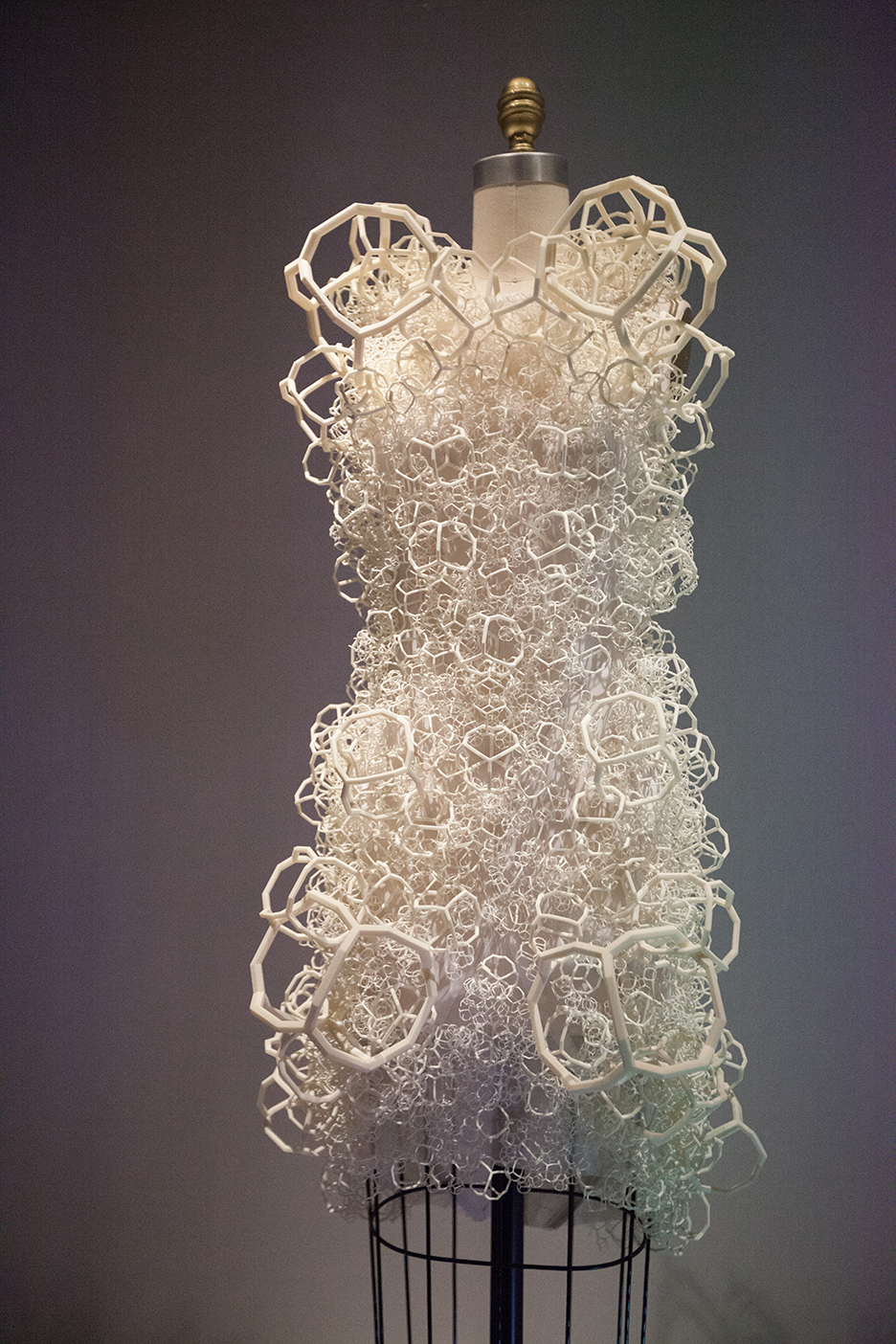 BAHAI 3-D-printed Fractal weave dress - with six degrees of fractal growth.