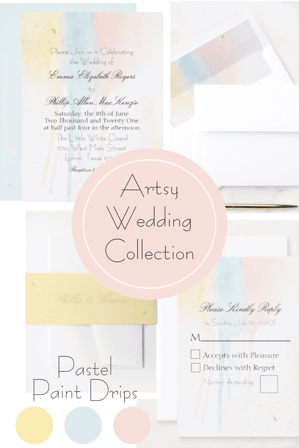prodcut grid for artistic pastels paint drips wedding suite