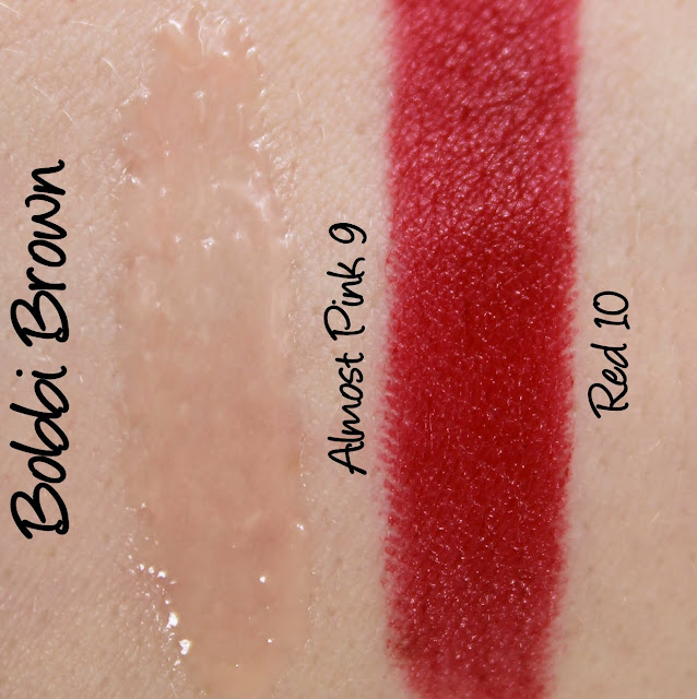 Bobbi Brown Red Lipstick, Almost Pink Lip Gloss Swatches & Review