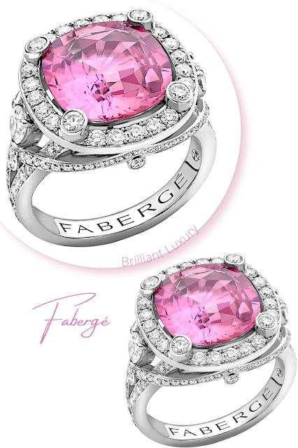 Fabergé Colours of Love white gold 6.52ct cushion cut pink sapphire diamond ring #brilliantluxury