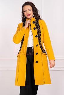 Palton dama galben mustar din stofa matlasat