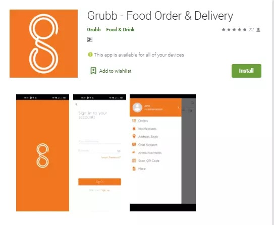 grubb online food delivery app