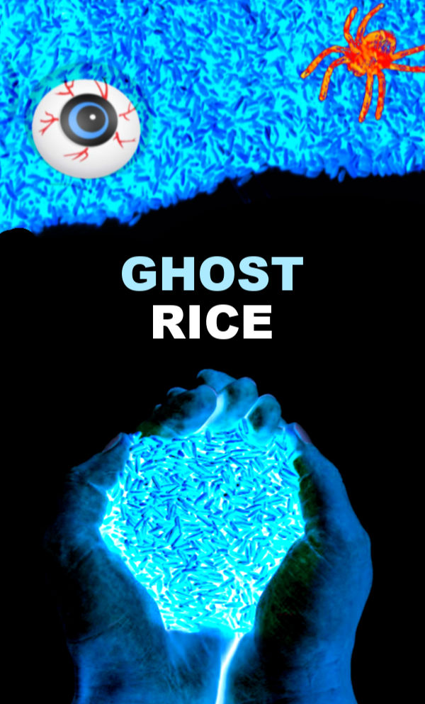 This sensory bin glows-in-the-dark, and the rice is ghostly cold!  Wow the kids this Halloween and make GHOST RICE for arts, crafts, and play! #ghost #ghostrice #ghostcraftsforkids #ghostactivitiesforpreschool #ghostactivities #sensoryactivitiestoddlers #sensorybins #sensoryrice #kidsricerecipes ##halloweenactivities #halloweensensorybin #growingajeweledrose #activitiesforkids
