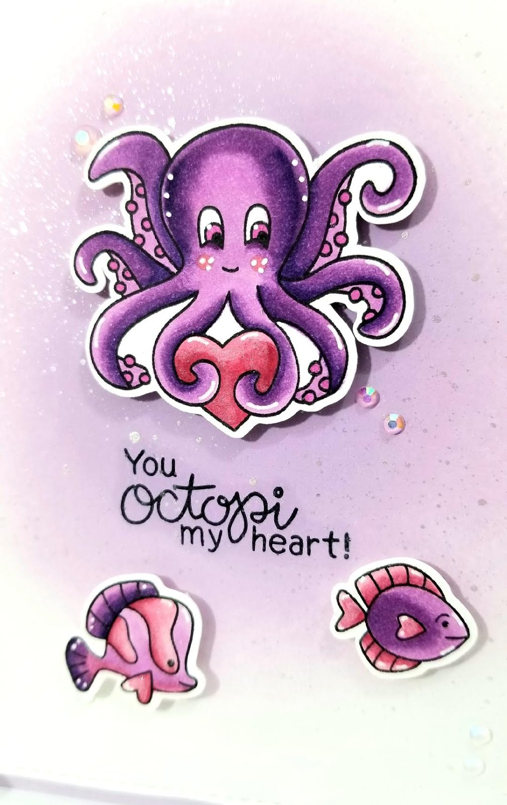 You Octopi My Heart Card by February Guest Designer Lori U'ren | Tides of Love Stamp Set by Newton's Nook Designs #newtonsnook #handmade