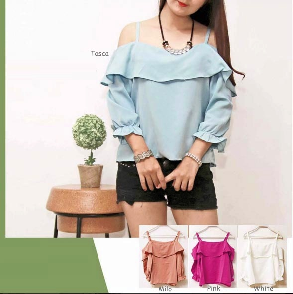 Jual Blouse Cold Shoulder Sabrina Blouse - 13155