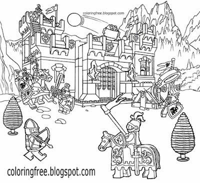 Printable medieval castle Lego city coloring pages for kids fort dark ages knight clipart activities