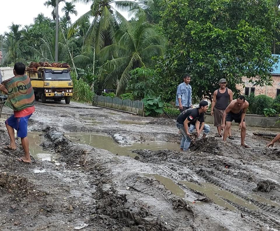 Truk Sering Terpuruk, Jalan Provinsi di Tanjabtim Rusak Parah