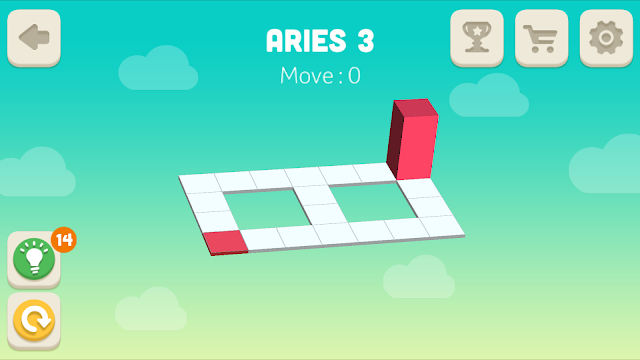 Bloxorz Aries Level 3 step by step 3 stars Walkthrough, Cheats, Solution for android, iphone, ipad and ipod