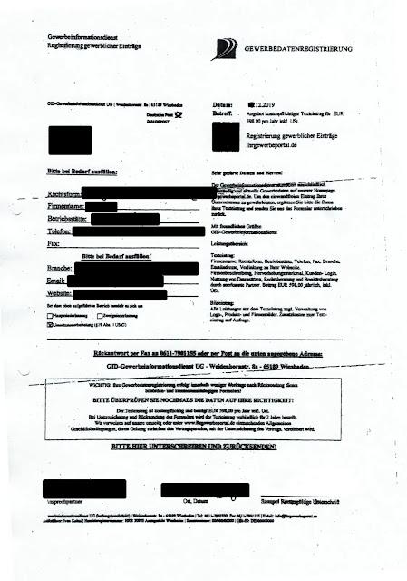 Scan: Offerte GID Gewerbeinformationsdienst UG / Dez 2019