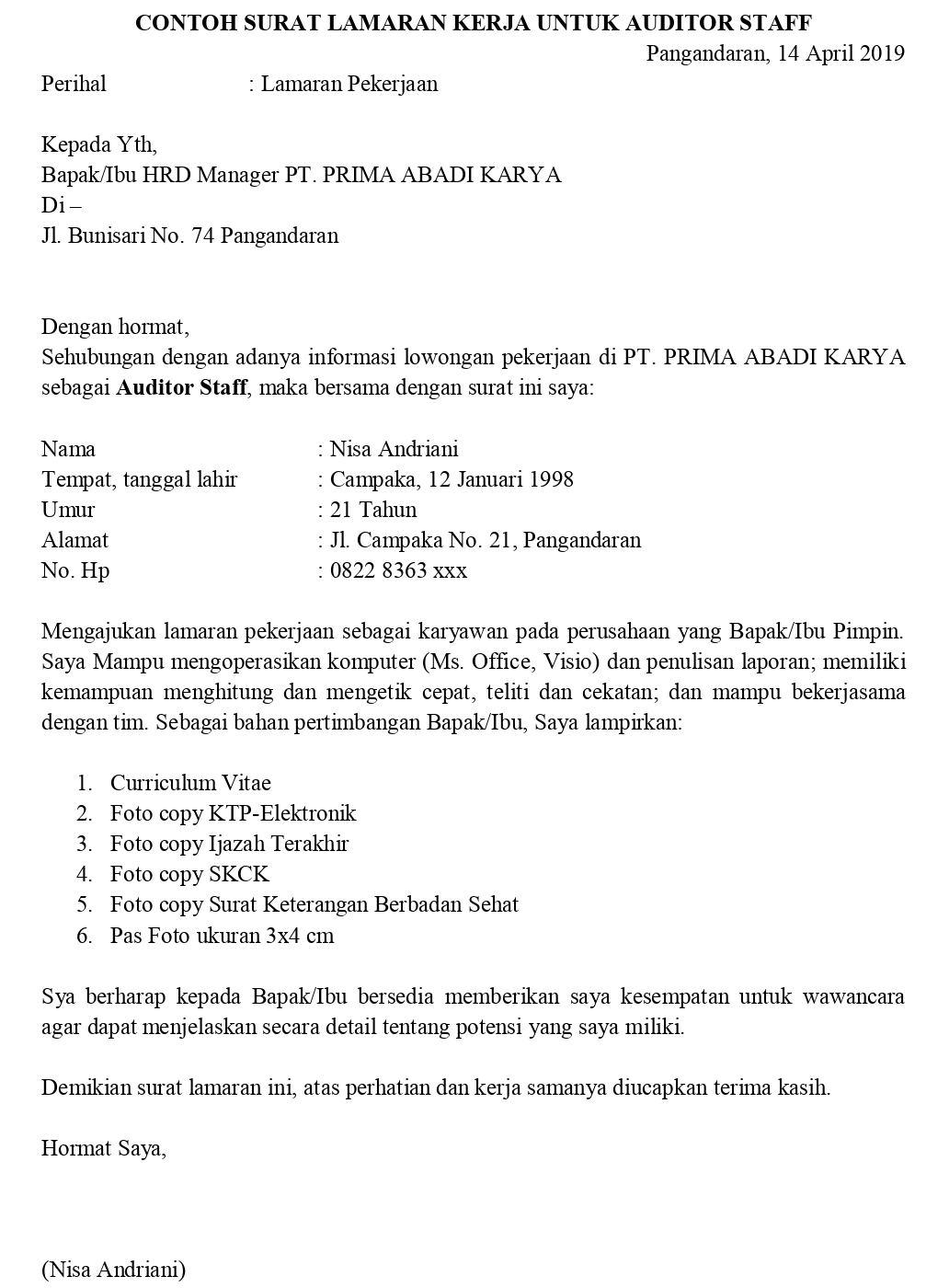 Contoh Surat Lamaran Pekerjaan Untuk Akuntansi Dan Keuangan Staff Accounting Managemen Akuntansi Dll Tanpakoma
