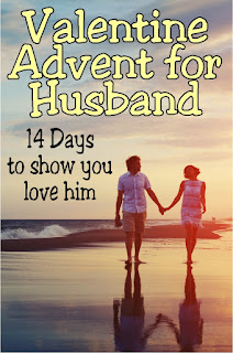 Give your husband a little bit of extra love this Valentine's day with a Valentine countdown with 14 days to show him how much he is loved.  Use these fun ideas, or make up your own to bring the love this Valentine's Day.