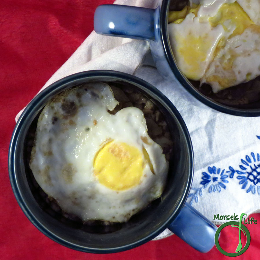 Morsels of Life - Savory Oatmeal - Savory oatmeal made more efficient with an egg on top.