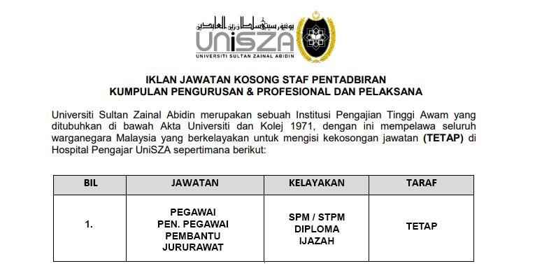 Universiti Sultan Zainal Abidin UniSZA [ Jawatan Kosong Pegawai / Pen. Pegawai / Pembantu ]