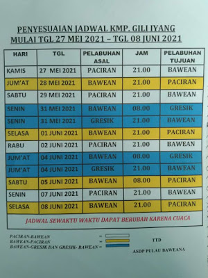Jadwal Kapal Gili Iyang Terbaru Mei 2021