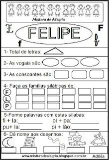 Brincando com o nome Felipe