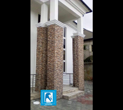 ledge stones on double pillars