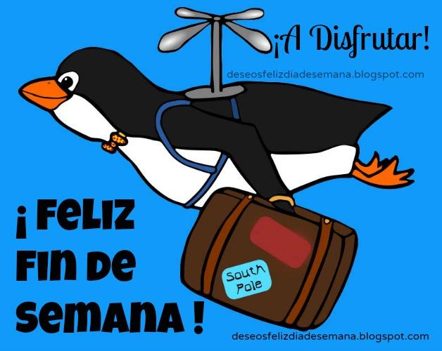 imagen de pinguino de viaje feliz fin de semana